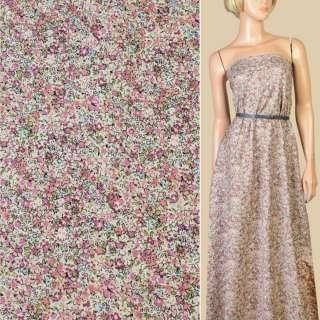 Коттон бежевый в розово-сиреневые мелкие цветы, ш.145 оптом