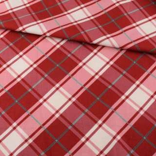 Коттон біло-рожевий в червону клітку ш.113 оптом