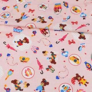 Коттон стрейч рожевий, ведмедики, сумочки, ш.110 оптом