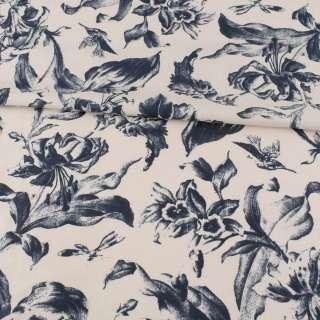 Коттон серый, темно-синие лилии, ш.148 оптом