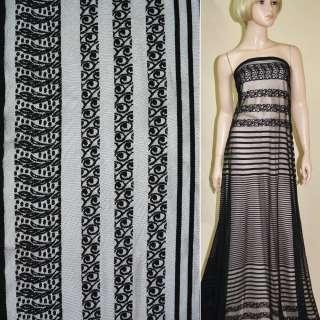 Кружевное полотно черное,двухсторонний купон ш.150 оптом