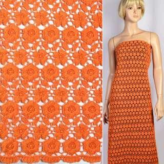 Кружево макраме в оранжевые маленькие цветочки 15мм ш.117 оптом