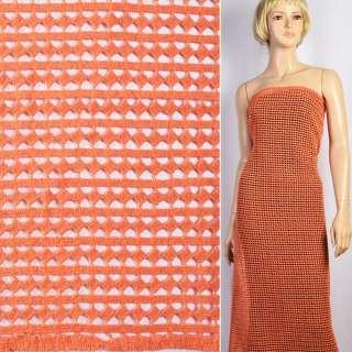 Кружево макраме оранжевое в ряды полосы, ромбы ш.127 оптом