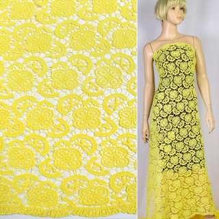 Кружево макраме желтое цветы, листья 5см ш.130 оптом