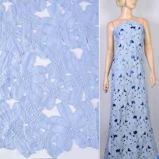 Кружево макраме голубое в цветочки 13см ш.125 оптом