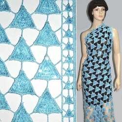 Кружевное полотно голубое с пайетками ш.120