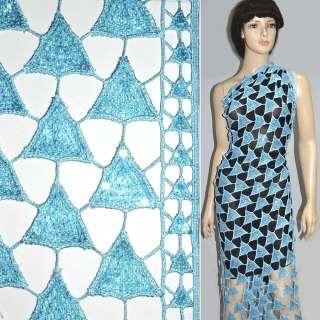 Кружевное полотно голубое с пайетками ш.120 оптом