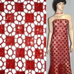 Кружевное полотно красное с пайетками ш.120