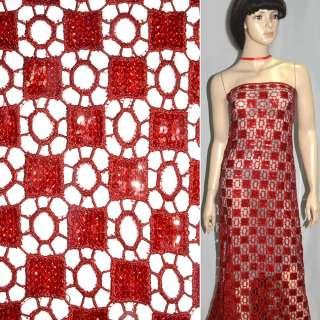 Кружевное полотно красное с пайетками ш.120 оптом