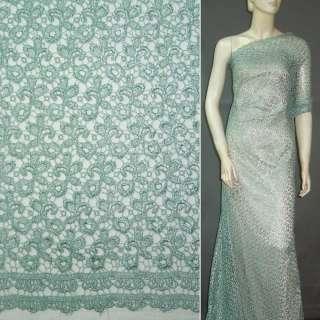 кружевное полотно зелено-серое ш.135 оптом