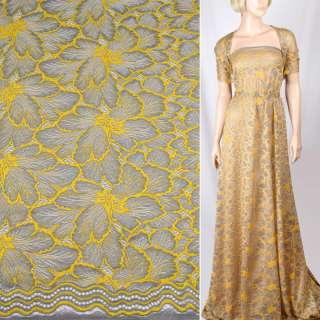 Кружевное полотно стрейч серое, желтые цветы, ш.145 оптом