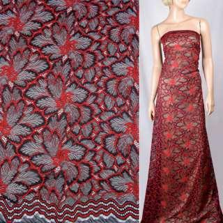 Кружевное полотно стрейч синее темное, красные цветы, ш.145 оптом