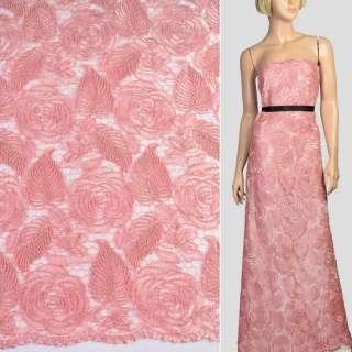 Мереживо на сітці рожеве, вишиті троянди, двостороння облямівка, ш.128 оптом