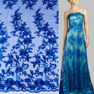 Мереживо на сітці з намистинами синє ультра в букети квітів, 1ст.купон ш.136 оптом