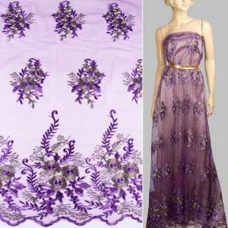 Кружево на сетке фиолетовое в большие цветы из метанити, 2ст.купон ш.140 оптом