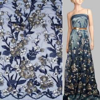 Кружево на сетке синее в цветы из метанити, ветки, 1ст.купон ш.140 оптом
