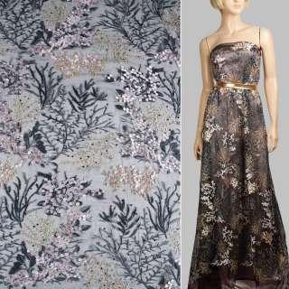 Кружево на сетке черное, розовые цветы, серо-золотые ветки, цветные стразы ш.120 оптом