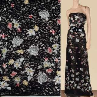 Мереживне полотно чорне з різнобарвною вишивкою, 2ст.купон, ш.145 оптом