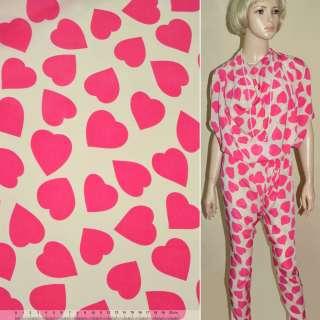 Купра диллон кремовая с розовыми сердцами ш.150 оптом