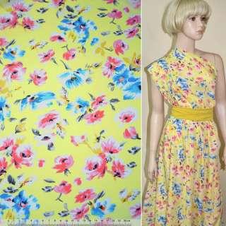 Купра диллон желтая с розово-синими цветами ш.150 оптом