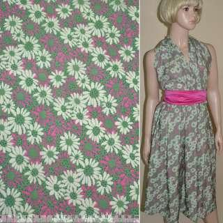 Купра диллон зеленая с молочно розовыми цветами ш.150 оптом