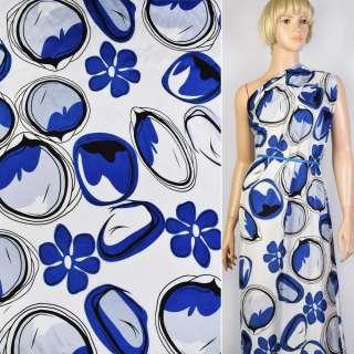 Купра белая в синие цветы и круги ш.145 оптом