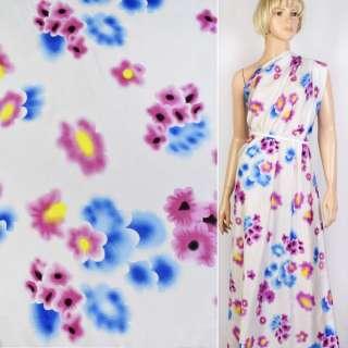 Купра белая в голубые и сиреневые цветы ш.143 оптом