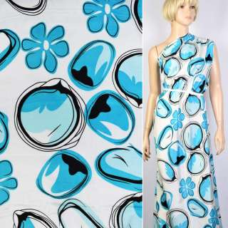 Купра белая в черно-голубые капли и цветы ш.145 оптом