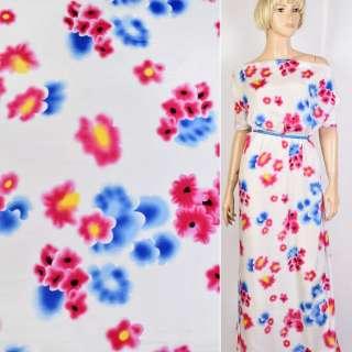 Купра белая в голубые и малиновые цветы ш.140 оптом