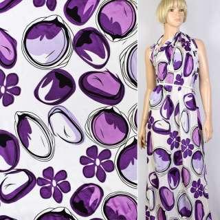Купра белая в черно-фиолетовые цветы и круги ш.145 оптом