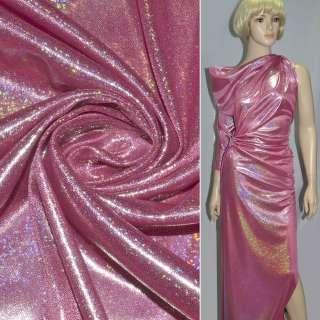 Трикотаж яскраво-рожевий зі срібною точковою голограмою ш.150 оптом
