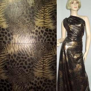 Трикотаж чорний з коричнево-сірим принтом леопард ш.150 оптом