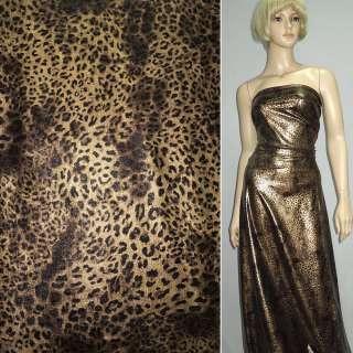Трикотаж чорний зі світло-коричневим принтом леопард ш.150 оптом