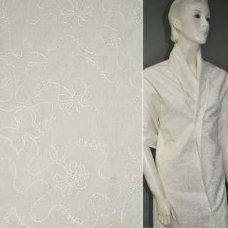 Лен костюмный молочный с вышивкой, ш.140 оптом