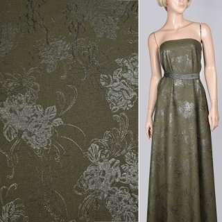 Лен зеленый темный с вышивкой и серебристым рисунком, ш.140 оптом