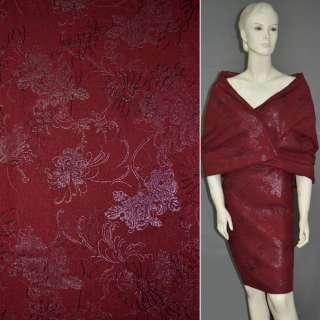 Лен красный темный с вышивкой и серебристым рисунком, ш.140 оптом