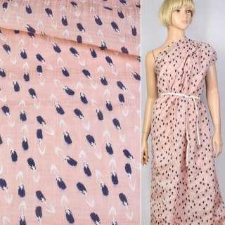 Лен розовый в сине-белый тюльпан ш.143 оптом
