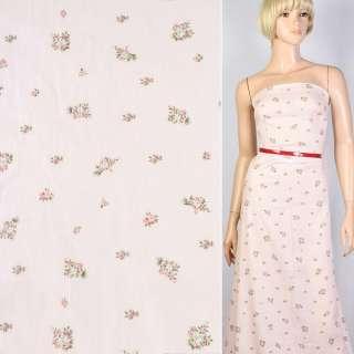 Лен с хлопком жатый розовый бледный в красно-зеленый цветок ш.122 оптом