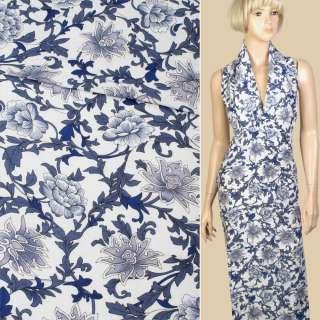Лен белый в сине-голубые цветы, ветки, ш.140 оптом