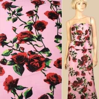 Льон рожевий в червоні троянди, ш.145 оптом