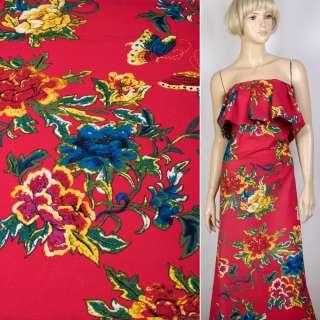 Лен малиновый в желто-красные, синие цветы, бабочки, ш.145 оптом