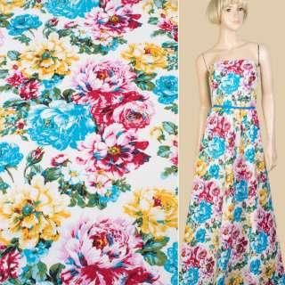 Лен белый в голубые, розовые, желтые цветы, ш.145 оптом
