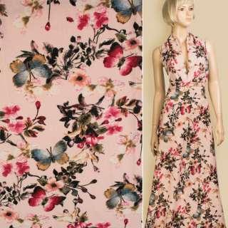 Лен розовый в белые цветы, синие бабочки, ш.145 оптом