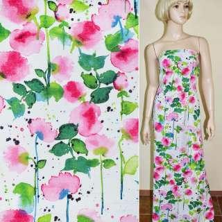 лен белый с розово-зелен. цветами ш.145 оптом