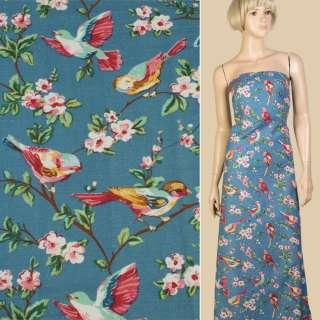 Лен синий с птицами и цветущими ветками, ш.145 оптом