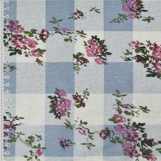лен белый в серо-голубые квадр. с цветами ш.140 оптом