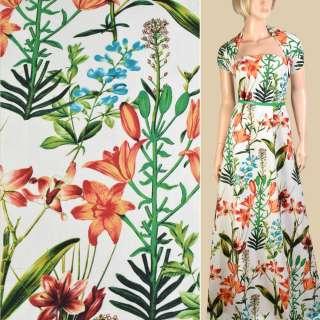 Лен молочный, оранжевые лилии, зеленые листья, ш.145 оптом