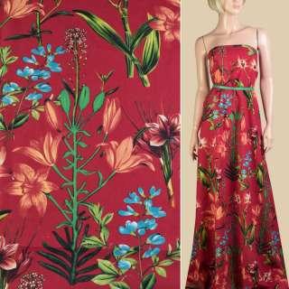 Лен красный, оранжевые лилии, зеленые листья, ш.150 оптом