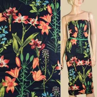 Лен черный, оранжевые лилии, зеленые листья, ш.150 оптом