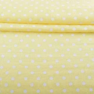 Лен с хлопком желтый светлый в белый горох, ш.155 оптом